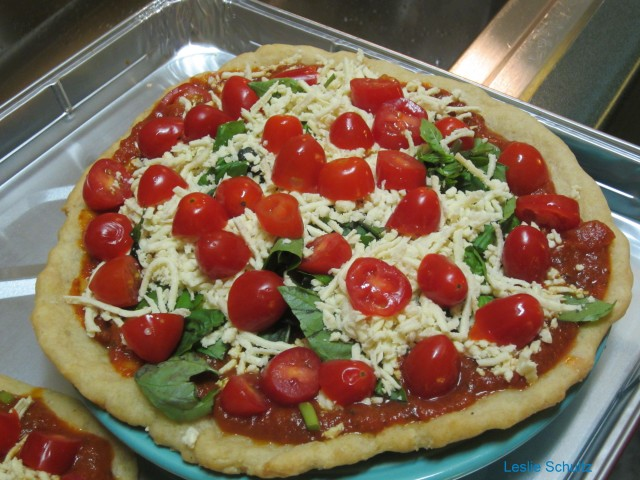 Julia's Gluten-free Pizza with Cherry Tomatoes, Basil, and Rice Cheese