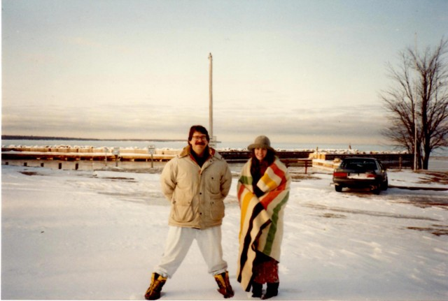 Leslie & Tim, Thanksgiving Day, Little Sand Bay, WI 1991 (photo by Ryan Edmonds)