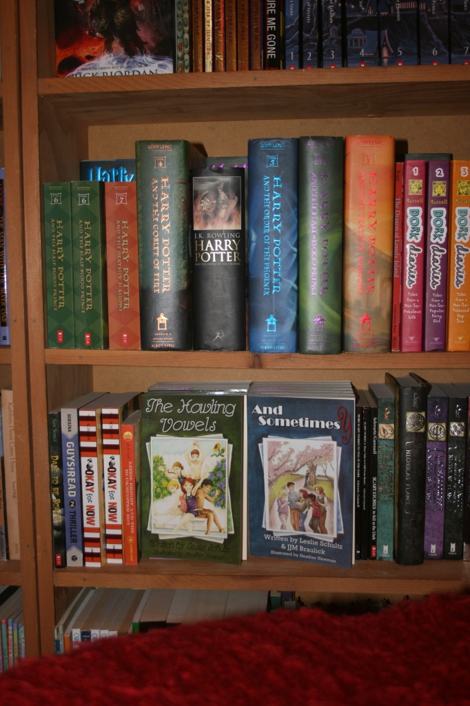 My own books -- near those of J.K. Rowling -- at Monkey See, Monkey Read