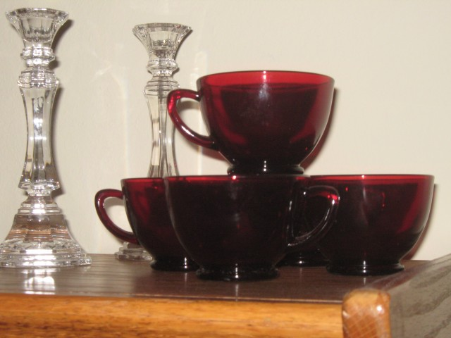 Great-grandma Clara's Red Punch Cups   (photo by Carolyn Warden,  2014)