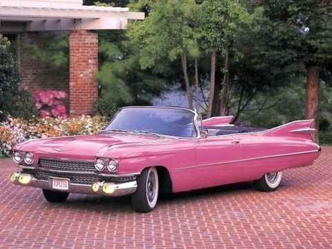 pink cadillac with fins