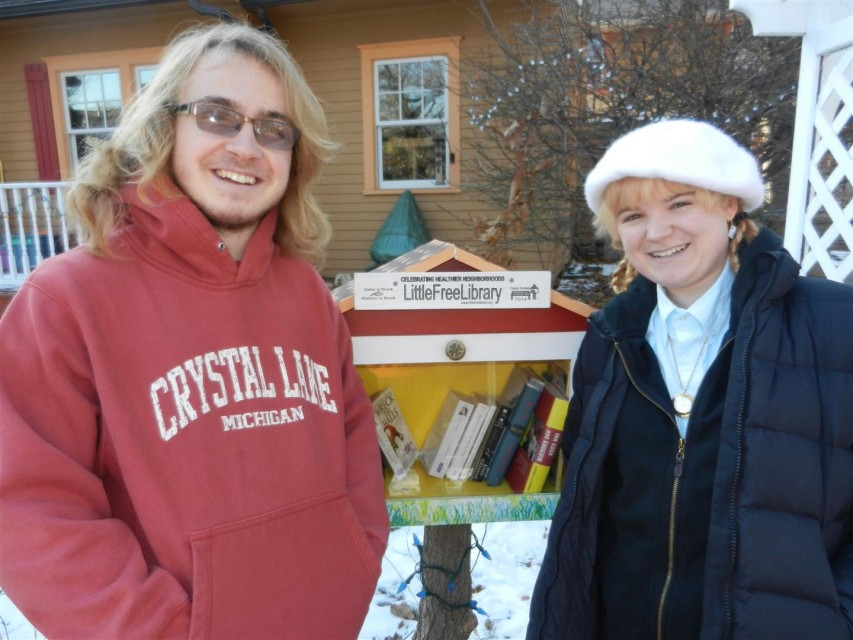 Joe and Kat Klafka (artist) in front of the Lacy-Klafka Little Free Library (2013)
