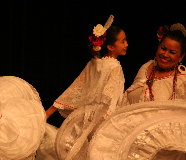 Atia Cole with teacher Ana Baez in Veracruz costume